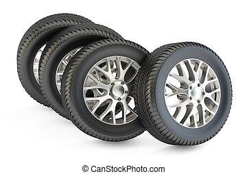Set of car wheels closeup, 3D rendering