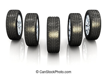 Set of car wheels on white background with reflection effect