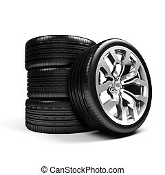 Set of car wheels isolated over white - 3d render