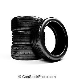 Set of car wheels  over white - 3d render