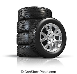 Set of car wheels isolated on white background with...