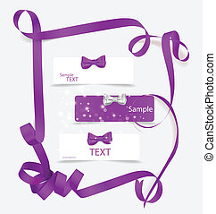 Set of card notes with beautiful gift bows and ribbons. Vector illustration.