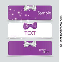 Set of card notes with beautiful gift bows. Vector illustration.