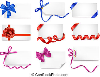 Set of card notes with color gift bows with ribbons Vector