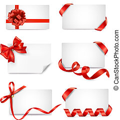 Set of card notes with red gift bo