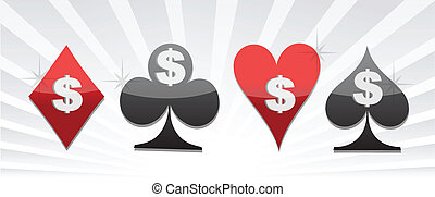 Set of card suit with dollar sign