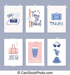 Set of card templates with travel illustrations and lettering.