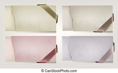 Set of cardboard paper banners with sale ribbons. Vector