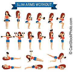 Set of cardio exercise for slim arms workout or weight training
