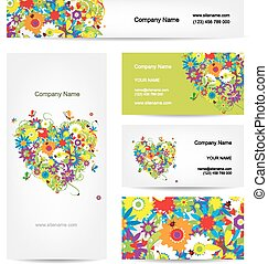 Set of cards, floral heart for your design