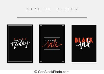 Set of cards for sales, black friday, big sale, discount selling tag,
