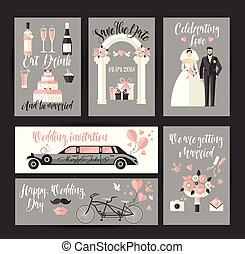 Set of cards for wedding. design decoration in flat for celebration