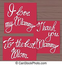 Set of cards fot mother on wooden background