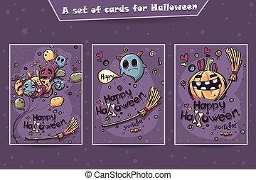 Set of cards Halloween doodles