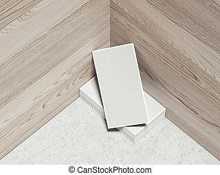 Set of cards on the wooden background, 3d rendering