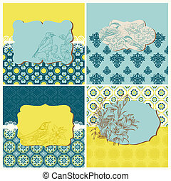Set of Cards - Vintage Tiles and Birds - for design and scrapbook in vector