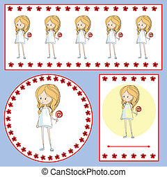 set of cards with a little girl with a lollipop