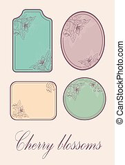 set of cards with a stylized cherry blossom. Vector Illustration .Eps 10.