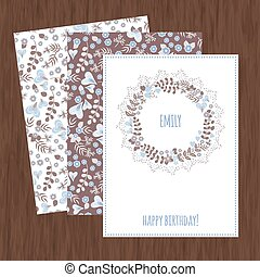 Set of cards with abstract flowers