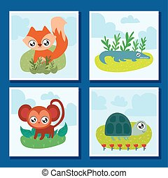 set of cards with animals in kawaii style