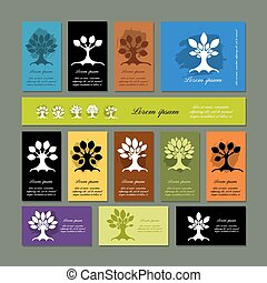 Set of cards with art trees for your design