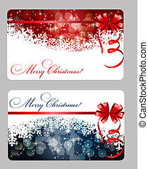 Set of cards with Christmas BALLS, stars and snowflakes,