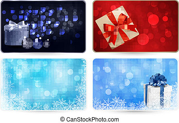 Set of cards with Christmas gift bo
