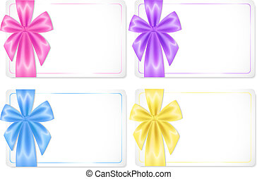 Set of cards with coloured ribbons