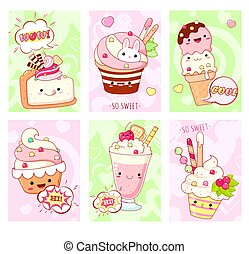 Set of cards with cute sweet desserts in kawaii style with smiling face and pink cheeks. Ice cream, cake, sundae kids, cupcake, donuts. Collection of banner, background, flyer, placard. Vector EPS8