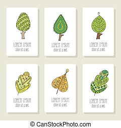 Set of cards with doodle trees, flowers, fruits, leaves.