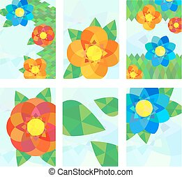 Set of cards with geometrical flowers.