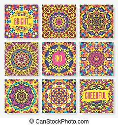 set of cards with kaleidoscope pattern. vector illustration...
