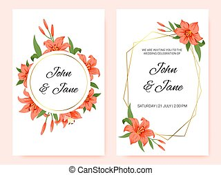 Set of cards with red lilies, leaves. The concept of wedding decoration. Floral poster, invitation. Vector decorative greeting card or invitation design background.