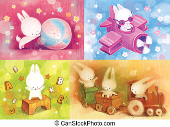 Set of cards with the little bunny.