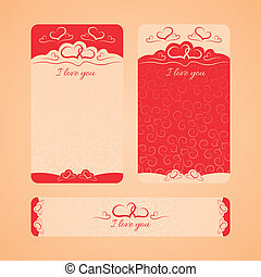 set of cards with Valentine's Day and wedding day