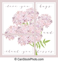 set of cards with words love you and thank you, cozy purple flowers on the background