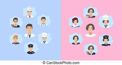 Set of career choice concept. Young guy and girl choose a profession. Illustration in flat style.