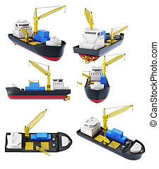 Set of cargo ship with crane isolated. 3d rendering