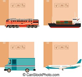 Set of cargo transportation with boxes