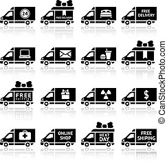 Set of Cargo trucks black icons