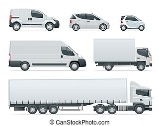 Set of cargo trucks side view. Delivery Vehicles isolated. ...