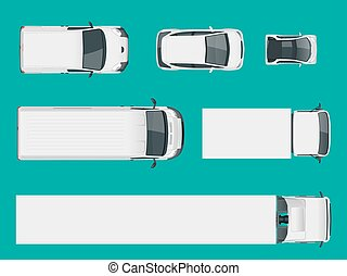 Set of cargo trucks. View from above. Delivery Vehicles isolated. Cargo Truck and Van. Vector illustration.