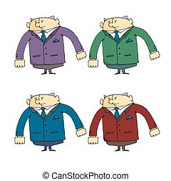 Set of caricatures the employee  security guard in different clothes