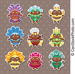 set of carnival costume people stickers