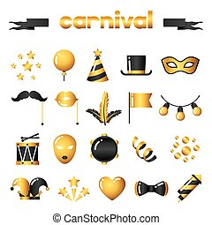 Set of carnival gold icons and objects. Celebration party items