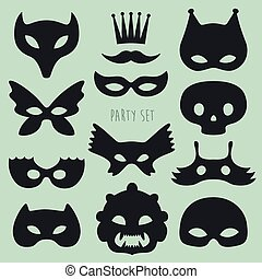 Set of Carnival Mask  Vector Illustration