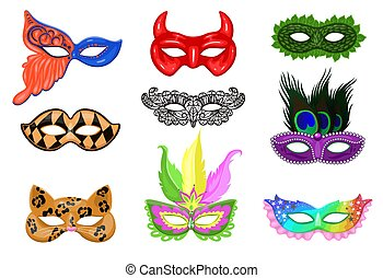 Set of carnival masks isolated on a white background. Vector graphics.