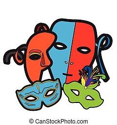 Set of carnival masks