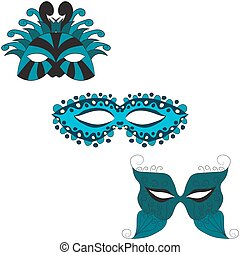 set of carnival masks. vector illustration. Drawing by hand.