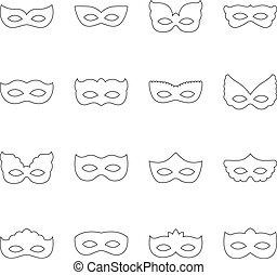 Set of carnival masks, vector illustration
